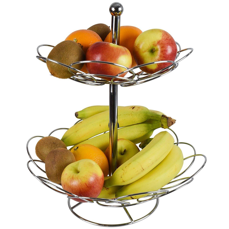 Asab Cesto per la frutta e la verdura, a 2ripiani, in acciaio INOX cromato, con ciotola ellittica in fil di ferro a 2ripiani
