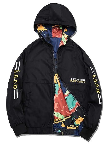 42812bda7 DAIKEN Men's Camou Hooded Lightweight Windbreaker Jacket Double-Sided wear  Bomber Jacket Zip-Front at Amazon Men's Clothing store: