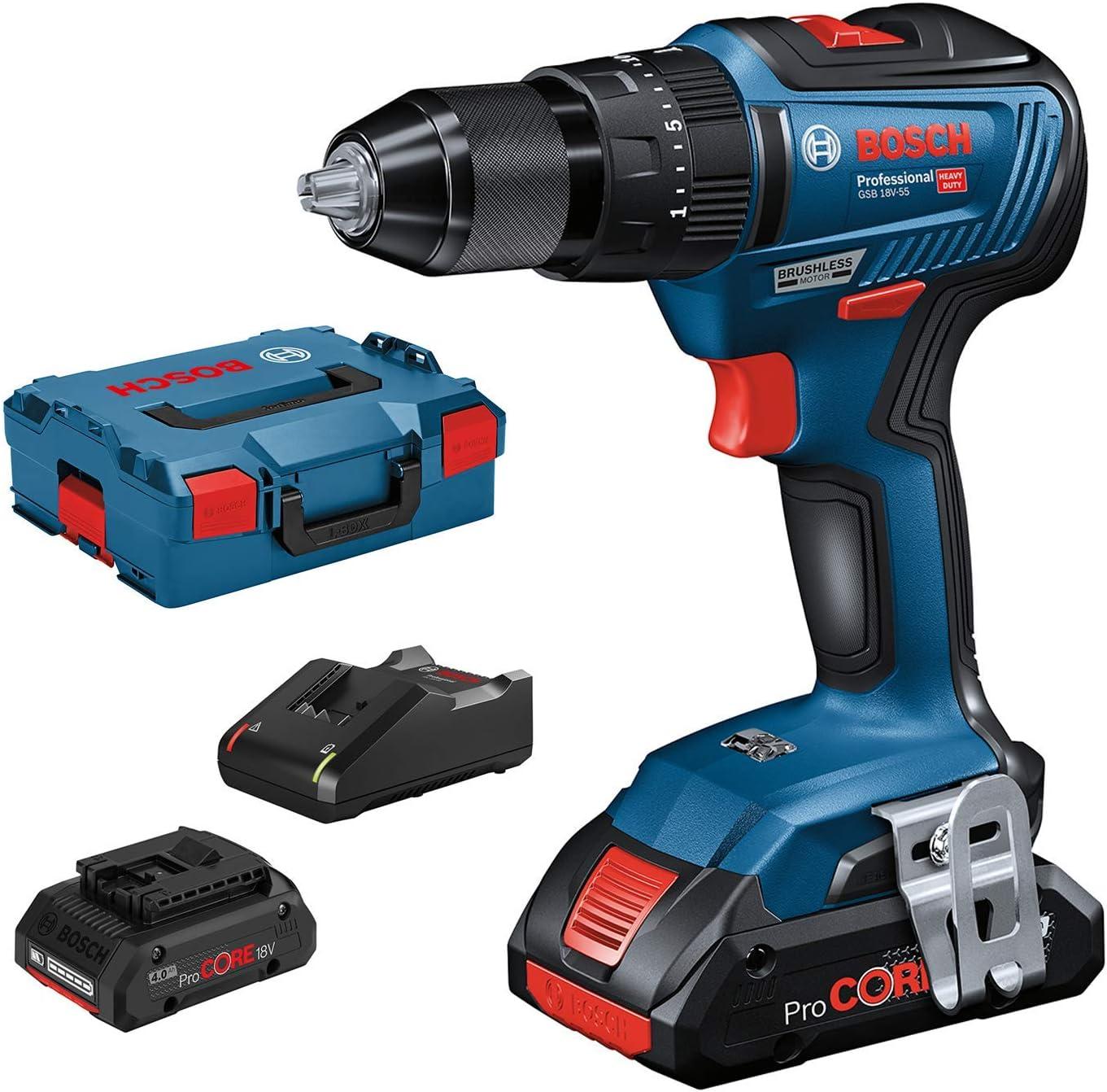 Bosch Professional 06019H5304 GSB 18V-55-Taladro percutor (2 baterías ProCore x 4.0 Ah, 18V, 55 NM, en L-BOXX), 18 V, Azul: Amazon.es: Bricolaje y herramientas