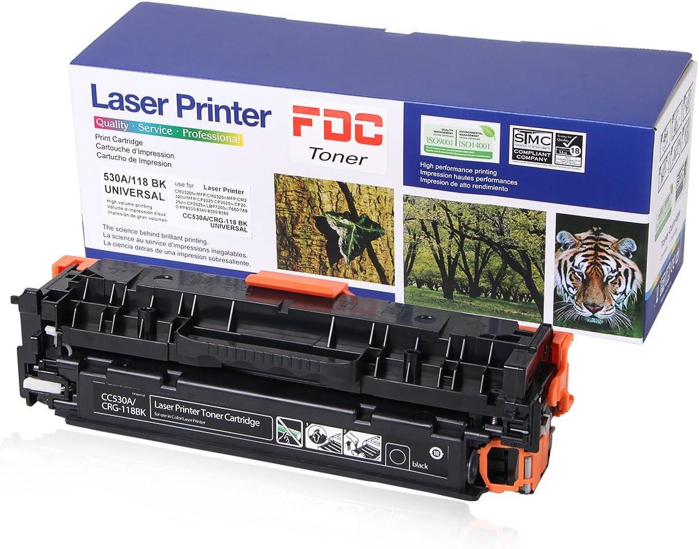 FDC Toner CC530A 304A CRG-118 Toner Compatible for HP Color Laserjet Cp2025dn Cp2025n CP2025x CP2025 Cm2320fxi Cm2320n CM2320nf, Canon ImageCLASS MF726Cdw LBP7660Cdn Toner cartrides (Black)