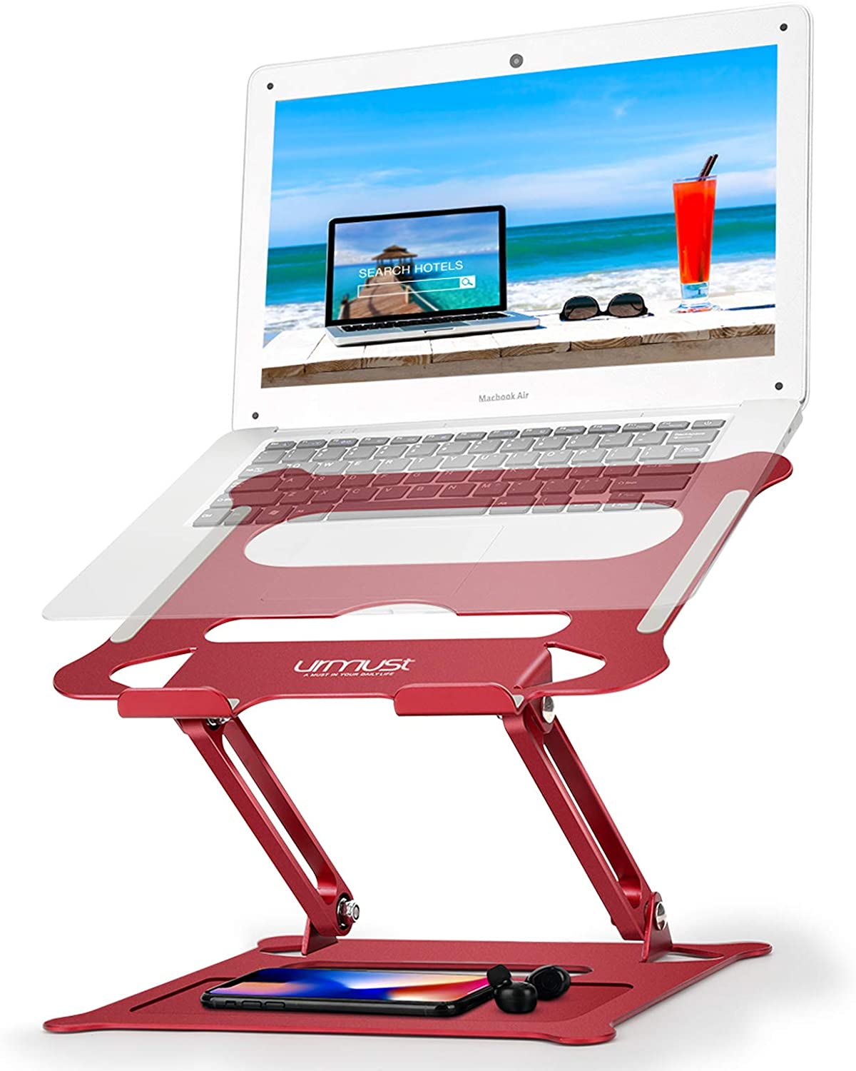 Urmust Laptop Notebook Stand Holder, Ergonomic Adjustable Ultrabook Stand Riser Portable with Mouse Pad Compatible with MacBook Air Pro, Dell, HP, Lenovo Light Weight Aluminum Up to 15.6