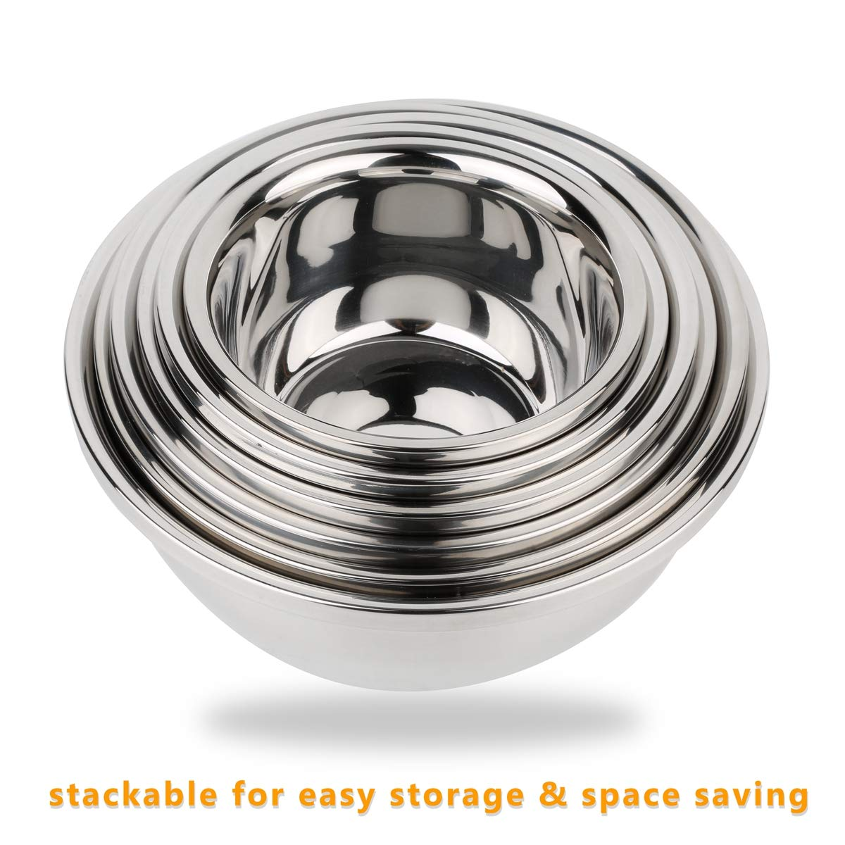 Set of 6 Mixing Bowls Stainless Steel Nesting and Convenient Storage for Meal prep, Salad, Cooking, Baking, Serving by SOFFBERG (Image #4)