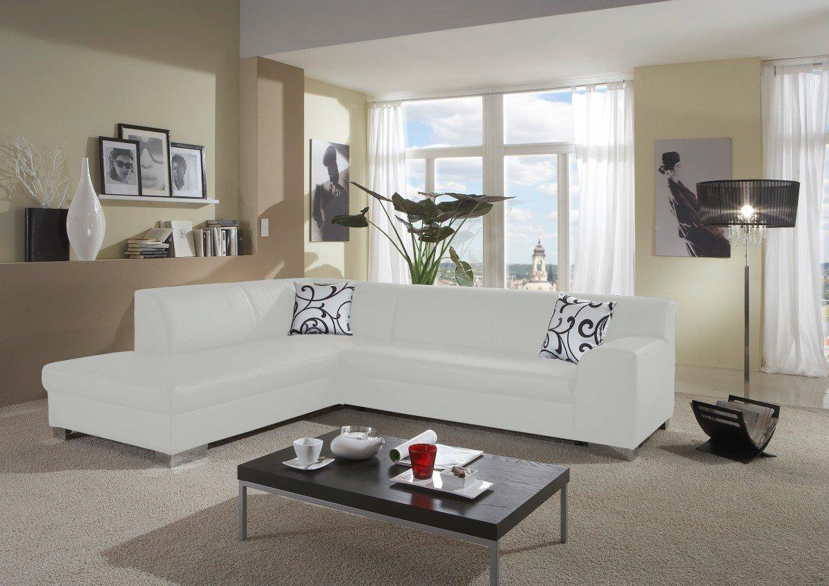 Dreams4Home Polstersofa, Ecksofa 'Sol', weiß, Kunstleder, Polstermöbel, Wohnzimmer, Sitzmöbel, Couch, Aufbauvariante:Recamiere links davorstehend