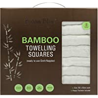 Bubba Blue Baby Reusable Washable Cloth Nappies/Towelling Squares Bamboo Viscose & Cotton 8 Pack