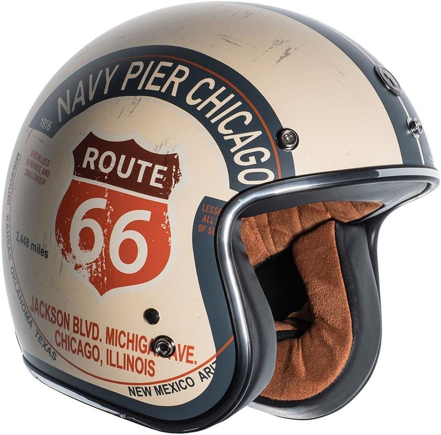 TORC T5020PCH23 unisex-adult open-face style T50 Route 66 3//4 Helmet Graphic Flat White PCH, Medium