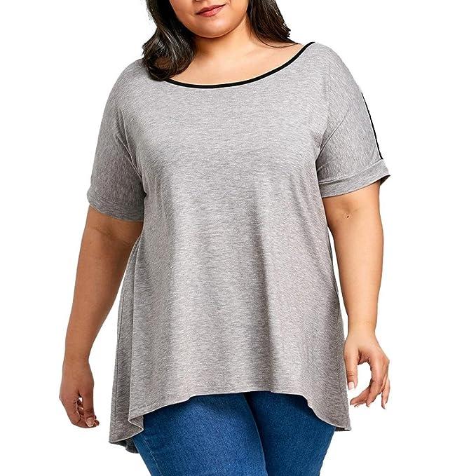 OHQ Camisa De Verano para Mujer Blusa De Mujer De Encaje MáS TamañO Blusa De Encaje De Moda Curva Blusa Costura De Encaje De Gran TamañO Superior Chic y ...