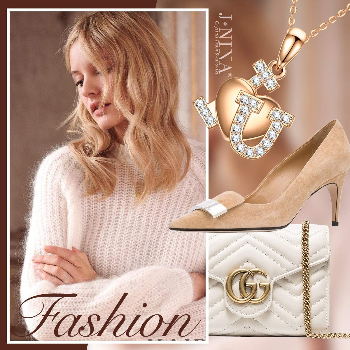 J.NINA Necklaces for Women I Love You Women Christmas Necklace Gifts Hypoallergenic Jewelry Fashion Heart Pendant Necklace with Luxury Packaging