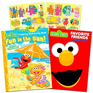 Sesame Street Elmo Coloring Book Set With Stickers 2 Book Set