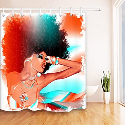 LB Sexy African American Afro Woman Shower Curtain For Stall Black Art Chic Fabric