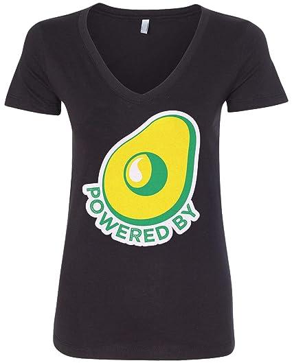 f28df675a9c53 Amazon.com: Threadrock Women's Powered by Avocado V-Neck T-Shirt ...