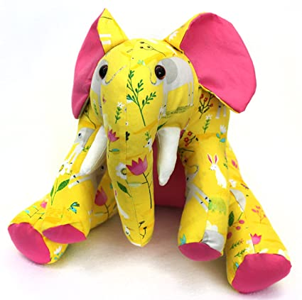Amazon Com Patchwork Plus Va Ellie Elephant Stuffed Animal Kit Yellow