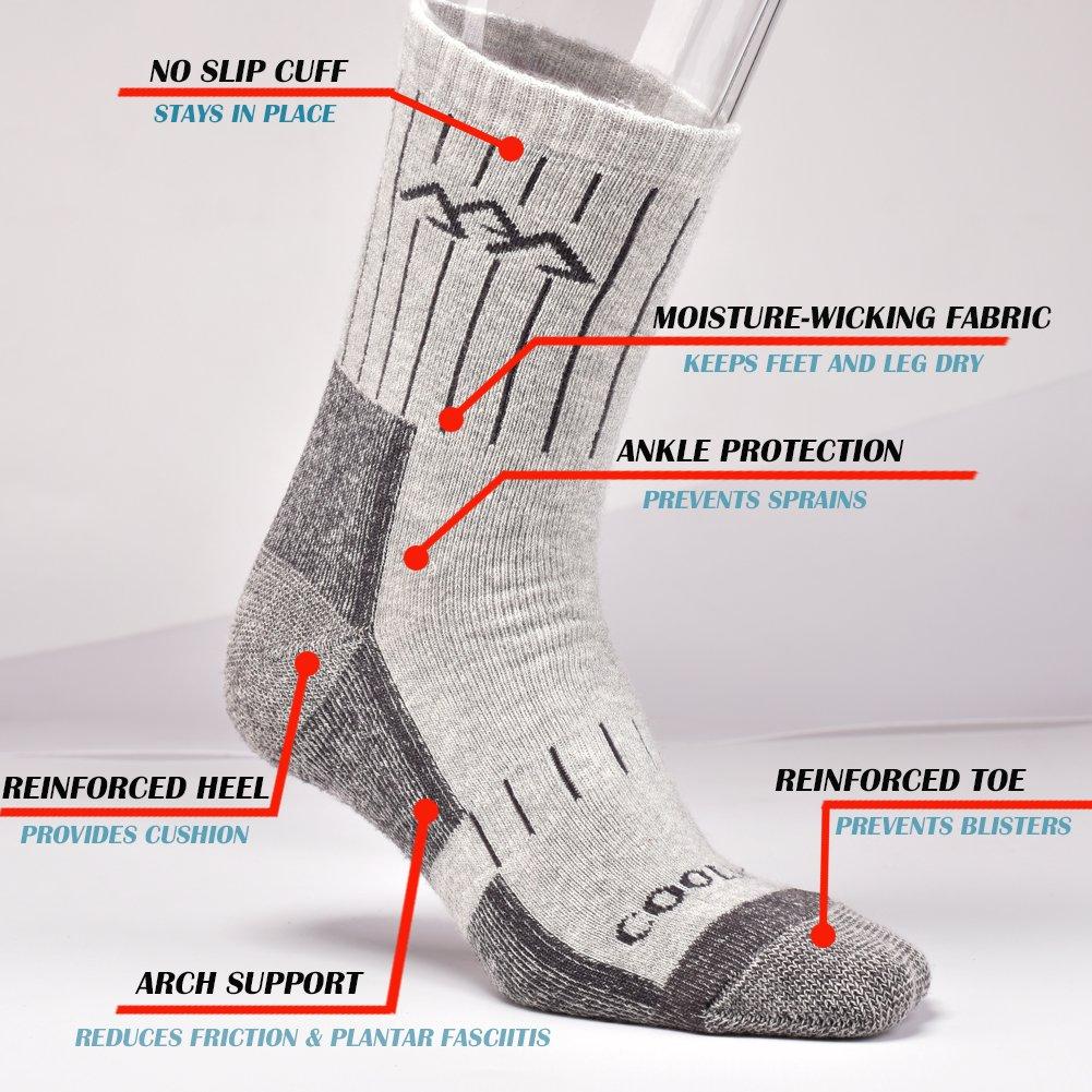 SUDILO Crew Cushion Hiking Trekking Socks,Coolmax Multi Performance Antiskid Wicking Outdoor Athletic Socks by SUDILO (Image #3)