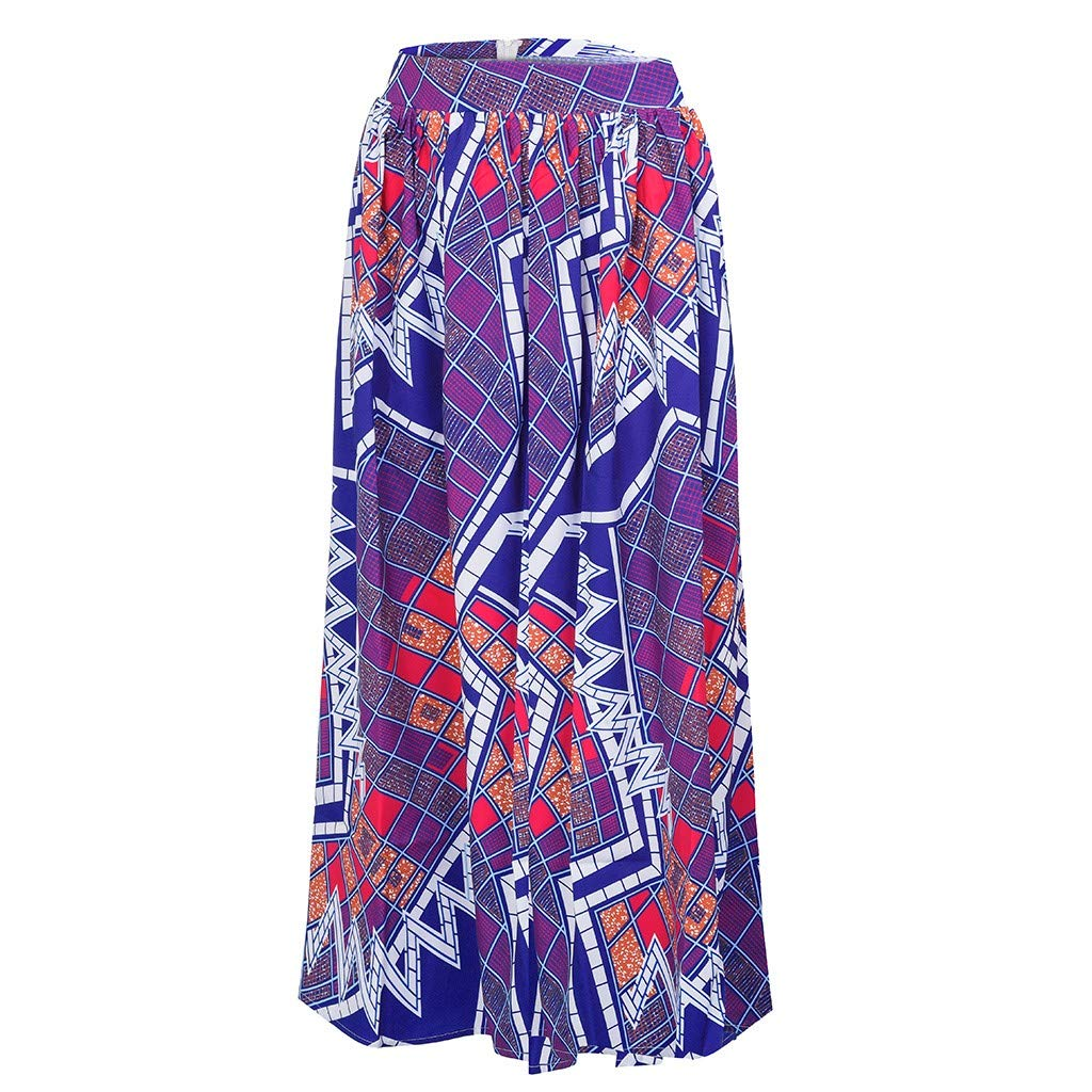 WOCACHI Skirt for Womens, Womens Fashion Leisure African Flower Long Skirt High Waist A-line Long Skirt Trendy Halter Backless Hollow Out Long Sleeve Sleeveless Strap Strapless Lace Bodycon by WOCACHI (Image #3)