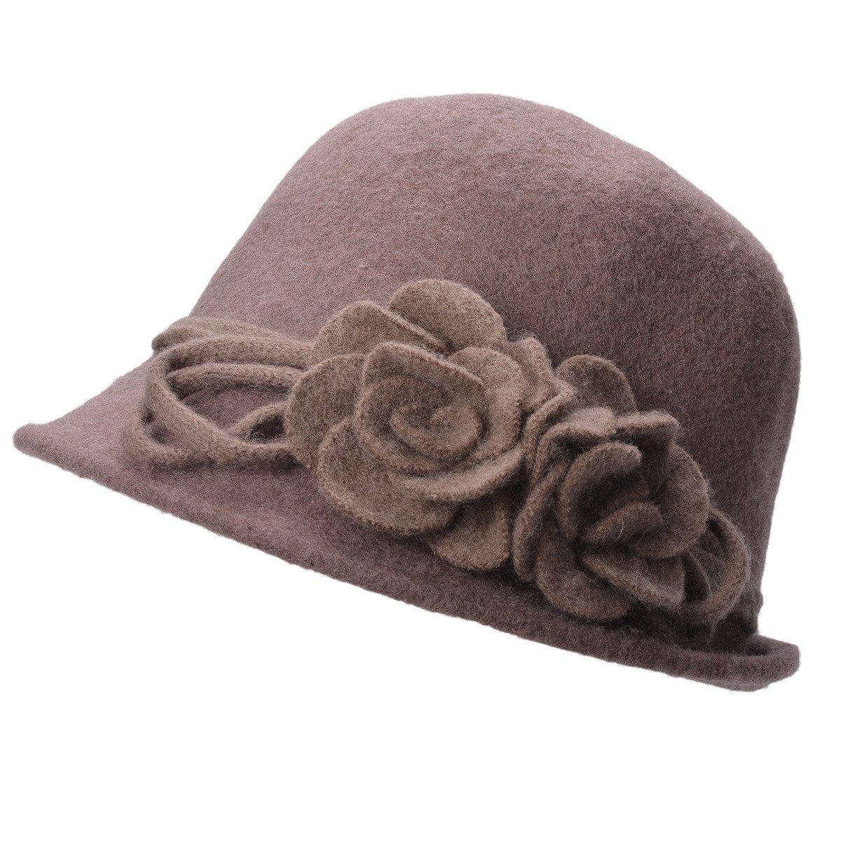Lawliet Womens Retro Collapsible Soft Knit Wool Cloche Hat Bucket Flower A466 (Khaki)