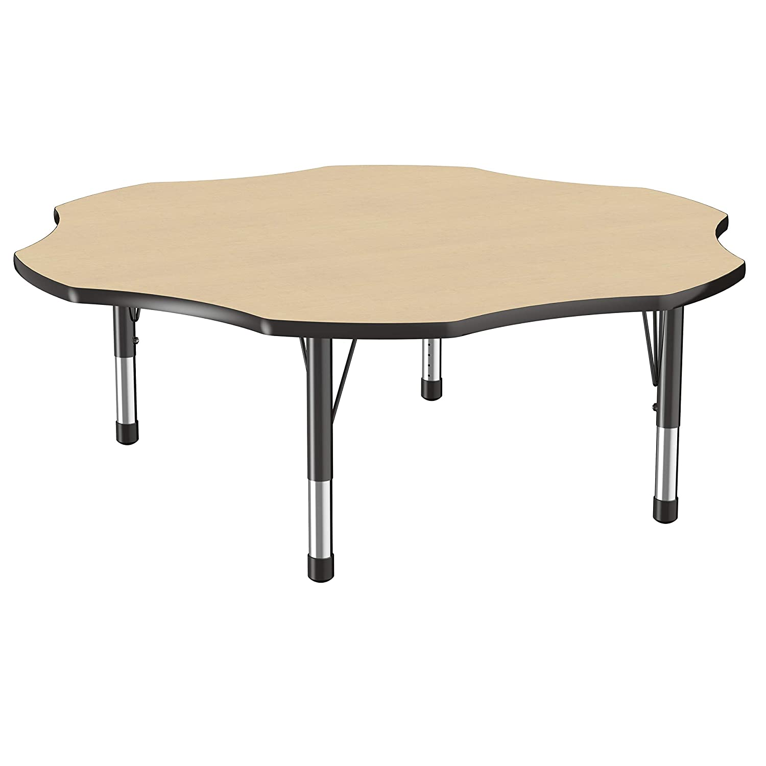 FDP Flower Activity School and Classroom Kids Table (60 inch), Toddler Legs for Collaborative Seating Environments, Adjustable Height 15-24 inches - Maple Top and Black Edge