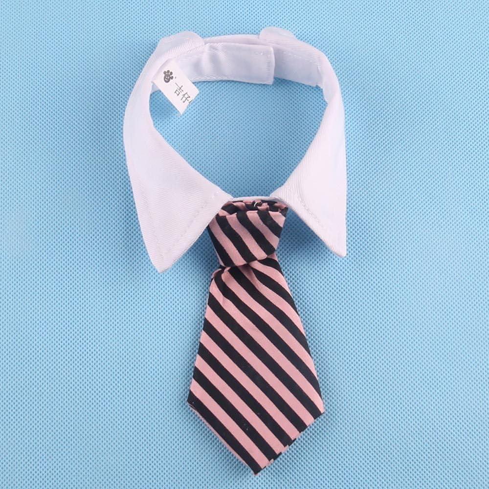 VANKER Ajustable Collar para Perro Suave de la Raya Corbata del Perro del Gato Accesorio - Rosa - S