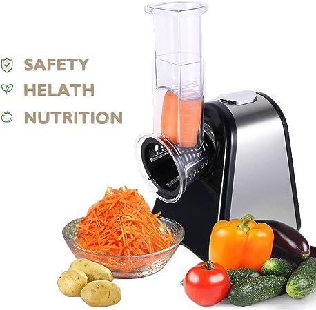 aimado eléctrica picadora verduras fruta cortador de acero inoxidable robot de cocina 5 intercambiables escofina de cortar y cabezales: Amazon.es: Hogar