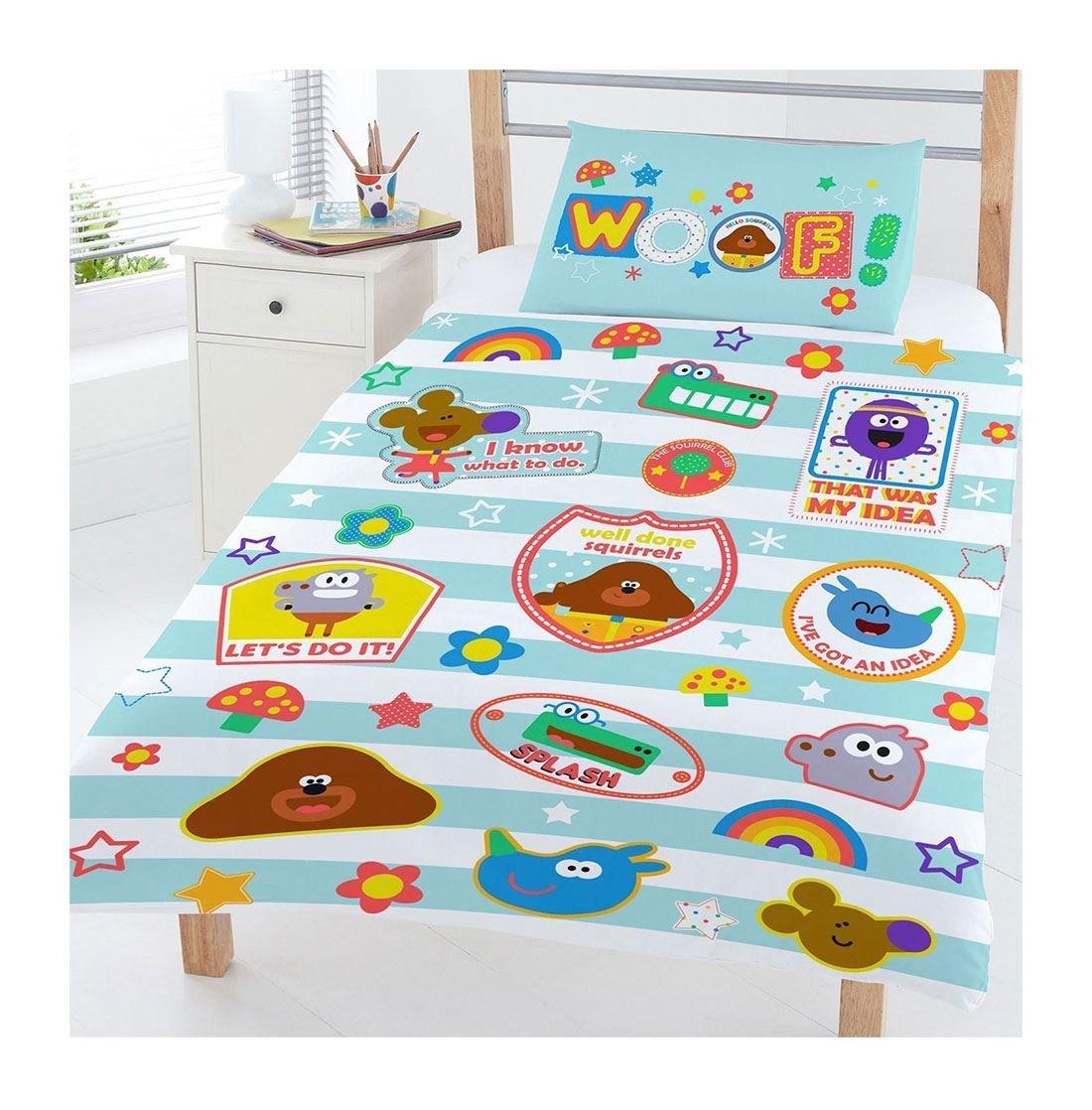 DIGITAL SPOT Kids Hey Duggee Woof Toddler Cot Bedding Set Kids Single Duvet Pillow Cover Set Single Size