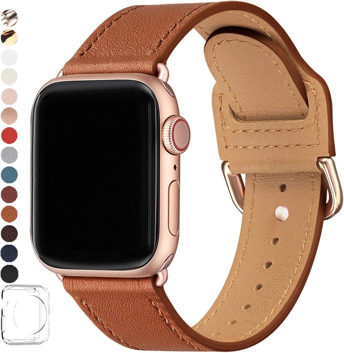 POWER PRIMACY Bands Compatible with Apple Watch Band 38mm 40mm 42mm 44mm, Top Grain Leather Smart Watch Strap Compatible for Men Women iWatch Series 6 5 4 3 2 1,SE(Brown/Rosegold, 38mm/40mm)