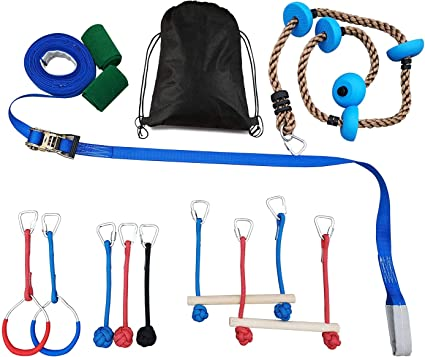Patioline Ninja Obstacle Course for Kids Gymnastic Junior Training Equipment Backyard Obstacles Kit - 2 Monkey Bars, 2 Gymnastics Rings, 3 Knot ...