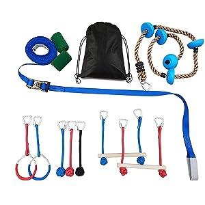 Tuahoo Gym 45 Feet Ninja Obstacle Course for Kids and Adults Jungle Gym Playset Slackline Monkey Bars Kit Ninja Warrior Training Equipment + Climbing Rope with Platform