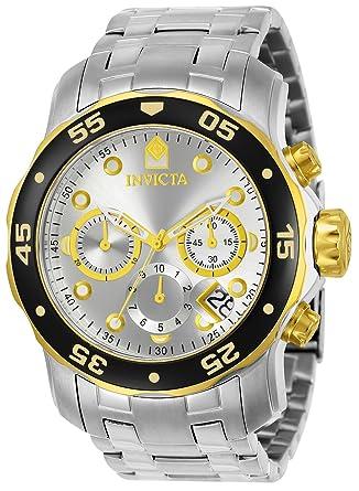 264ab53eb358 Invicta 80040 Pro Diver - Scuba Reloj para Hombre acero inoxidable Cuarzo  Esfera plata  Invicta  Amazon.es  Relojes