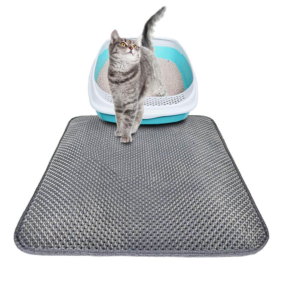 Cat Litter Mat,Pawaca Anti-Dirty Slip Non-Toxic EVA Cat Sand Mat,Double-Layer Cat Litter Trapper Waterproof Design Scatter Control Traps Litter for Small Cat
