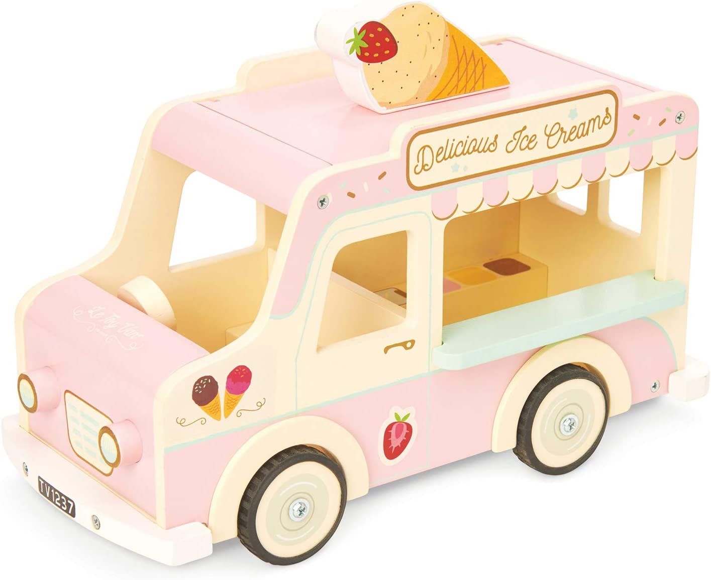 Le Toy Van Daisylane Collection Wooden Dolly Ice Cream Truck Premium Wooden Toys for Kids Ages 3 Years & Up