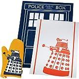 BBC Doctor Who DW Home Kitchen Gift Set - Oven Glove (Dalek) + Tea Towel 2PK (TARDIS/Dalek)