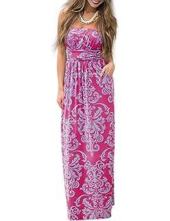 Liebeye Women Floral Sleeveless Empire Waist Strapless Beach Maxi Dress aa02f68af