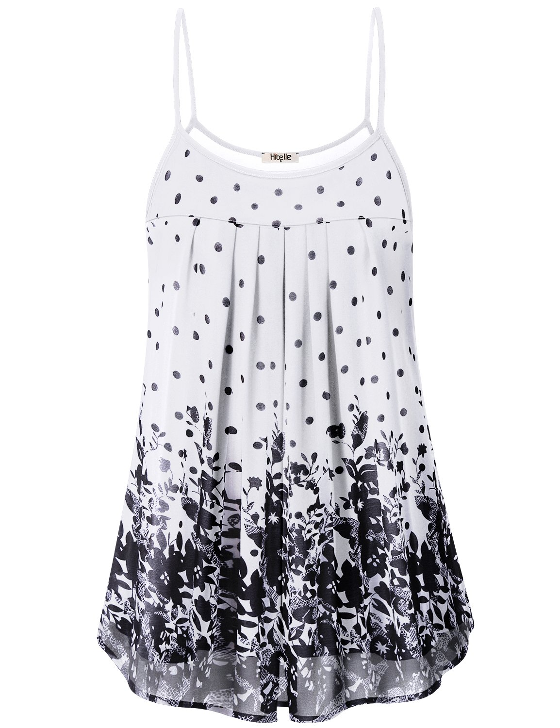 Hibelle White Flowy Tank Top, Womens Summer Long Camisole Pretty Flower Floral Print Pleated Drapey Front Hawaii Style Dressy Chiffon Blouse House Outdoor Comfort Great Tunic Black L