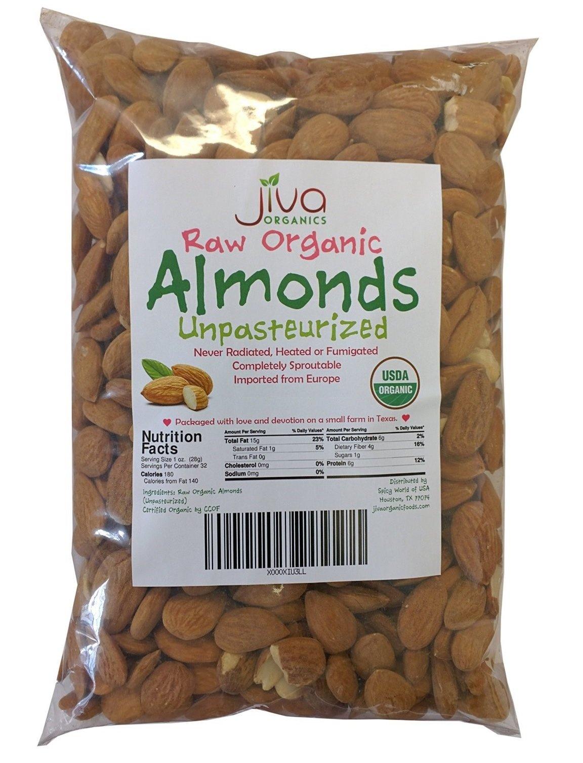 Jiva Organics Raw Unpasteurized Organic Almonds, 10 Pound