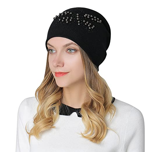 2b761f4a9f8 Image Unavailable. Image not available for. Color  iShine Women Ladies  Winter Beanie Hat Wool Knitted with Small Crystals Ski Snowboard Hats