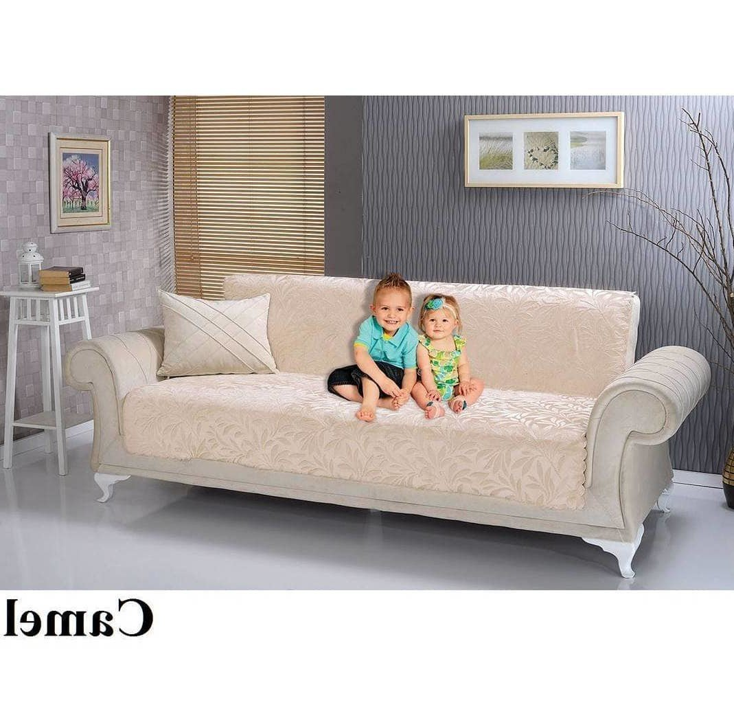 MN 1 Piece Grey Beach Theme Sofa Protector, Gray Floral Tree Tropical Pattern Beach Lake Cottage House Palm Trees Furniture Protection Couch Protection Cover Pets Animals, Polyester