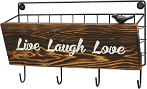 ChasBete Key Holder for Wall Decorative Mail Organizer, Entryway Decor Mail Holder with Key Hook, 'Live Laugh Love' Key Rack