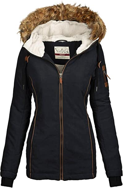 Urban Surface warme Damen Winter Jacke Parka Mantel Winterjacke Teddyfell B505