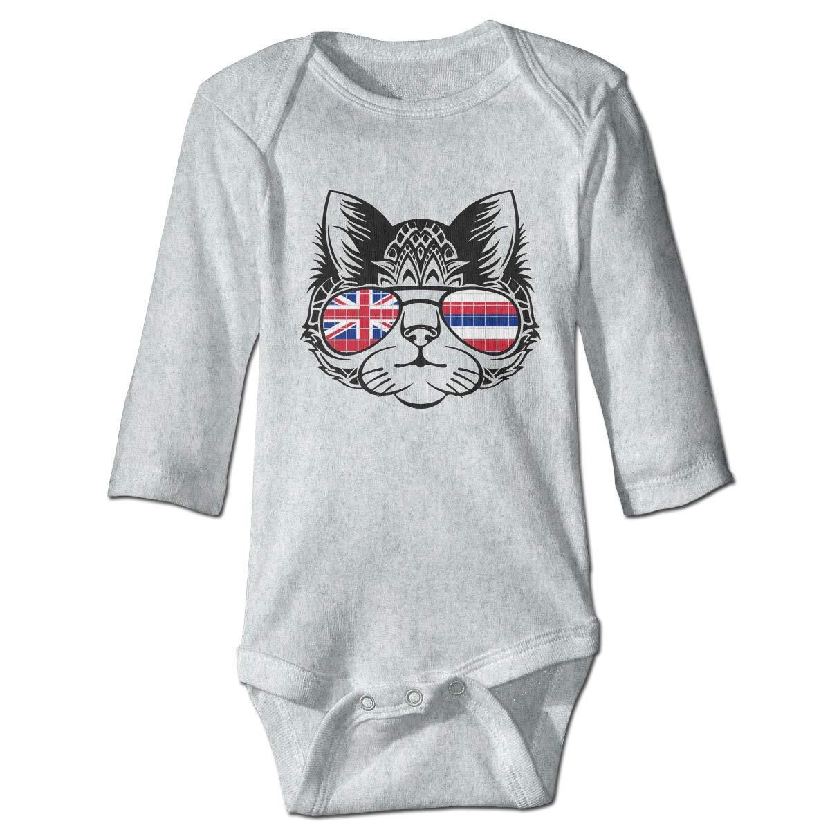 Newborn Baby Boys Girls Romper Bodysuit Jumpsuit Cat Wearing Hawaii Flag Sunglasses Long Sleeve Funny Climb Romper