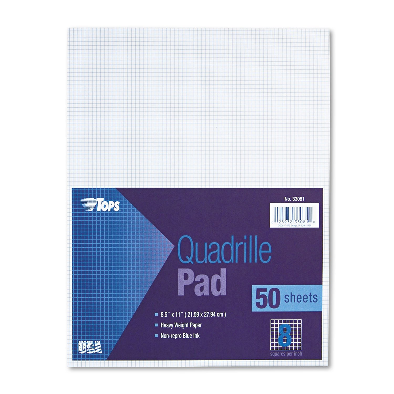 TOPS 33081 Quadrille Pads,8''x8'' Ruled,20 lb,8-1/2''x11'',50Shts/PD,WE