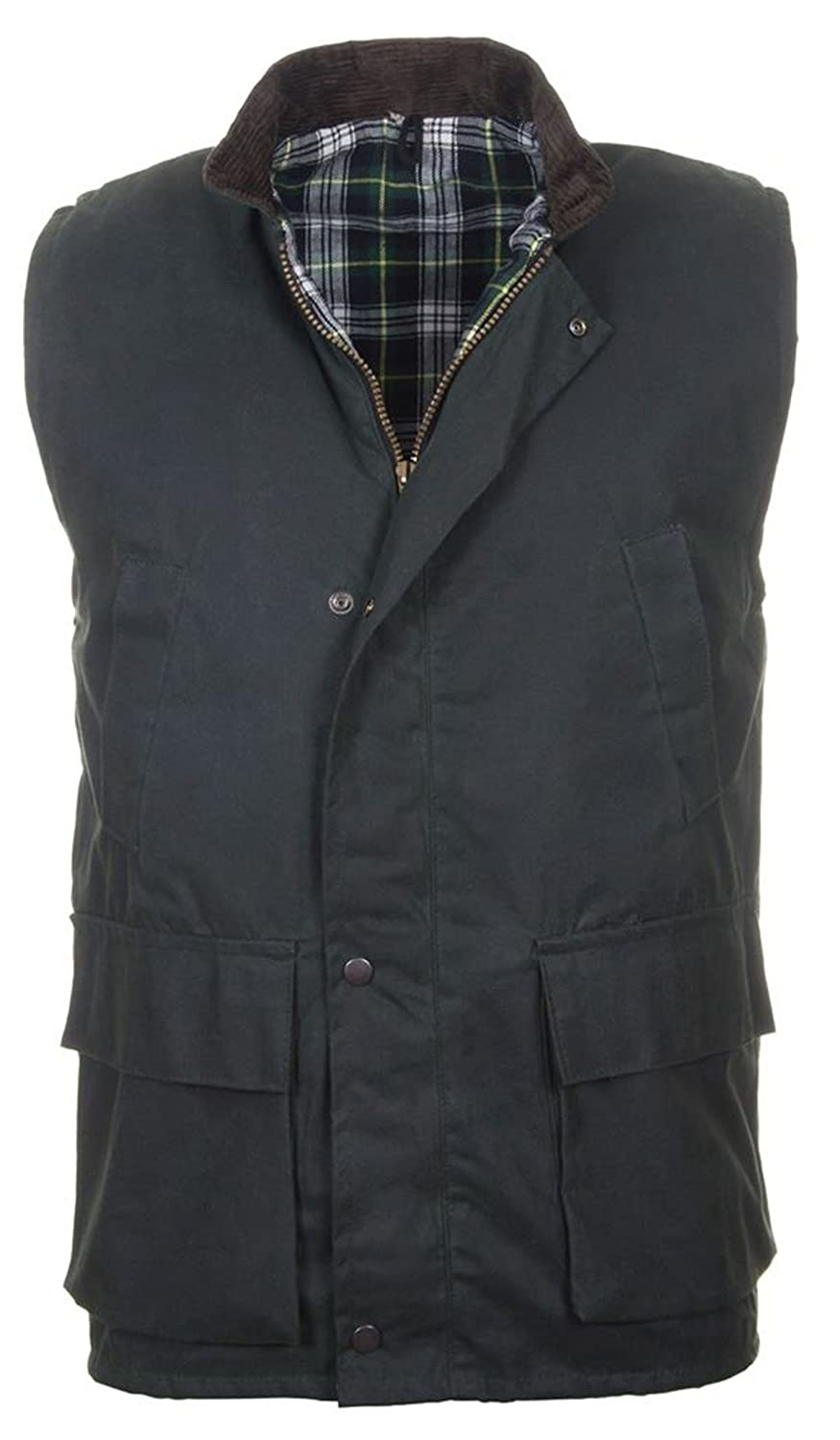 Countrywear New British Made Quilted Wax Gilet Branded Outdoor Bodywarmer Oiled Waistcoat Sleeveless Jacket Fishing Hunting Shooting Farming
