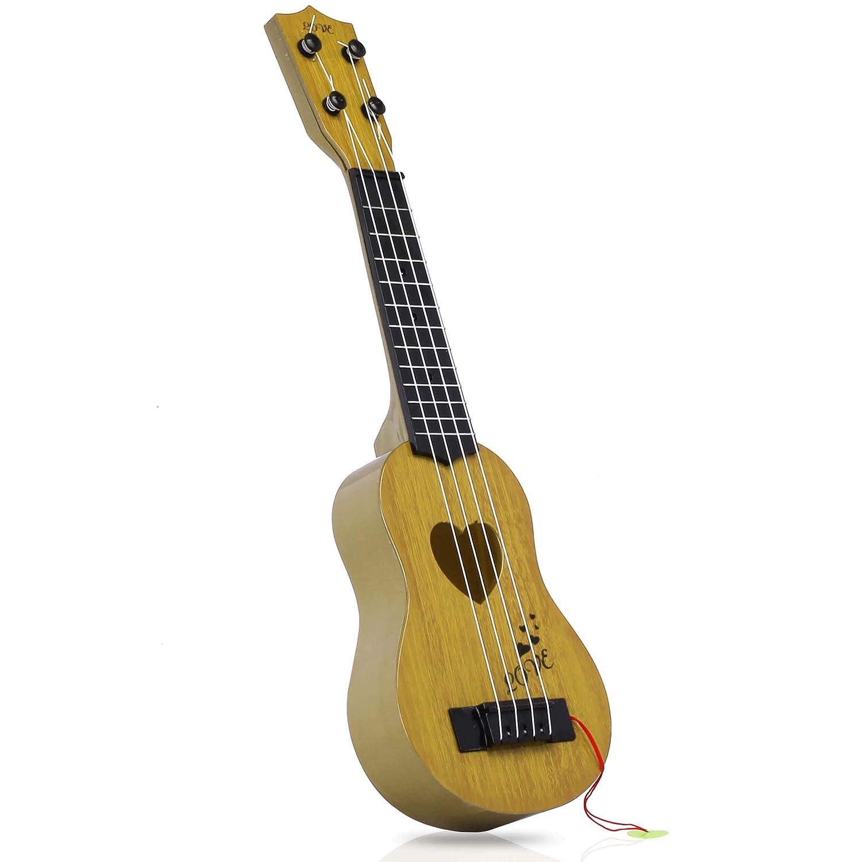 Silverback Kinder Gitarren Ab 3 Jahre - Musikinstrument Ukulele Mit 4 Seiten - Spielzeug Gitarre - Anfänger Spielgitarre - Beige SB Silverback