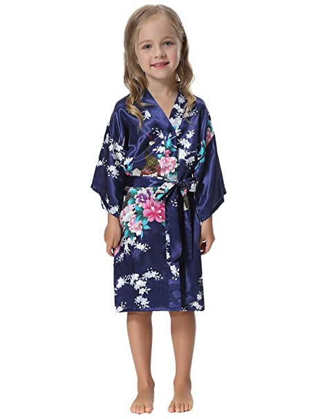 0c99fa305ed8 Aibrou Kimono Ragazza Vestaglie Accappatoio Bambini Pigiama Bambina Camicia da  Notte Bambina in Raso Con Cintura