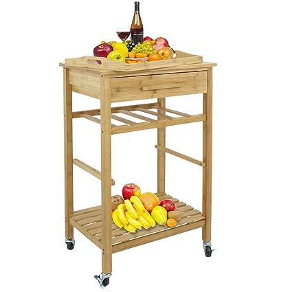 Amazon Com Bbbuy Rolling Bamboo Kitchen Island Storage Cart