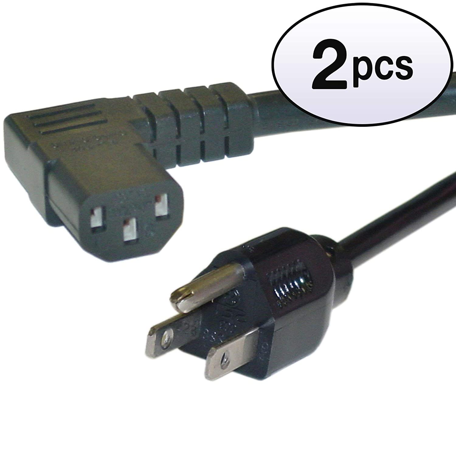 15 Amp Right Angle Computer//Monitor Power Cord GOWOS 14 AWG 3 Pack 25 Feet Black