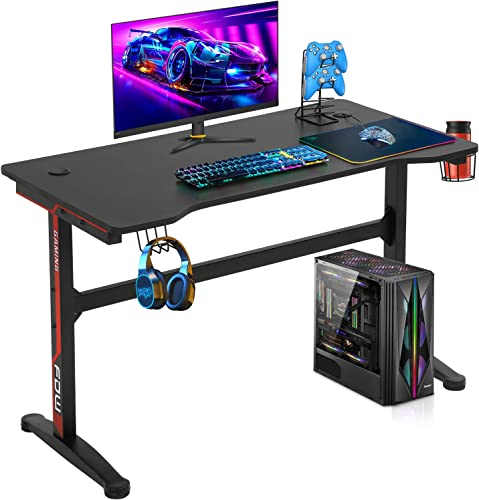Gaming Desk Computer Desk 47.2 inches Writing Desk Ofiice Desk Student PC Desk Extra Large Modern Ergonomic Racing Style Table Workstation Carbon Fiber Cup Holder Headphone Hook