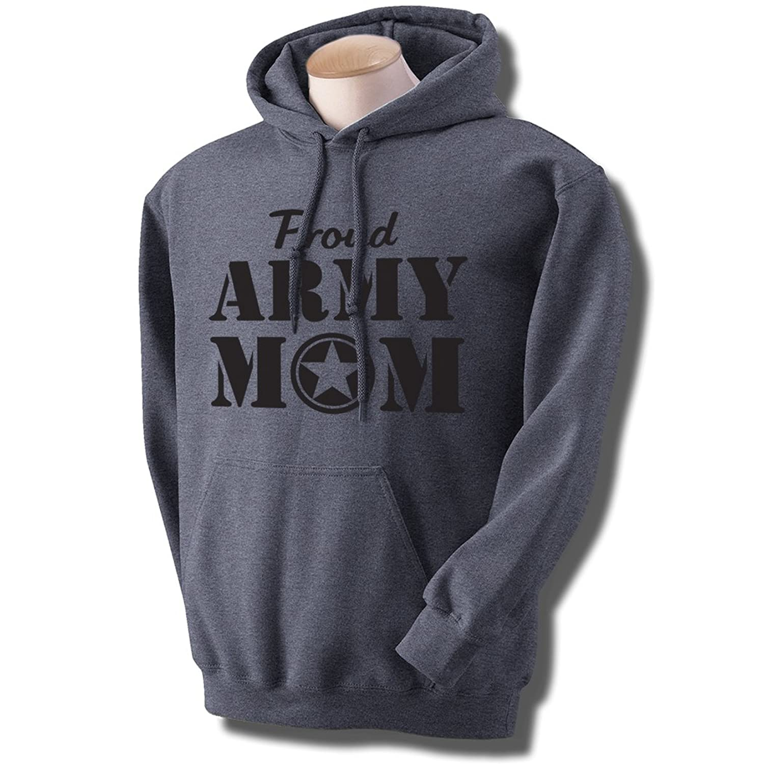 Proud Army Mom Hooded Sweatshirt in Dark Heather Gray at Amazon ...