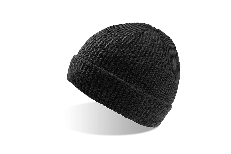 BOB-2x Strickmütze mit Thinsulate Fleecefutter - Wintermütze für Damen und Herren schwarz weiß (wollweiß) dunkelgrau