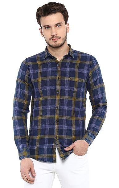 e60cf4cf96d SPEAK Men s Casual Denim Checks Shirt  Amazon.in  Clothing   Accessories