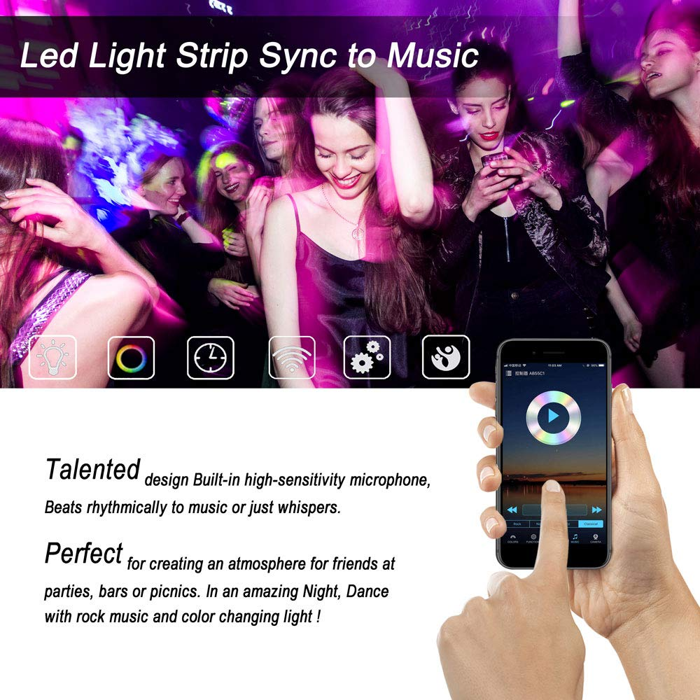 TUMURPEAK Led Strip Lights, Led Light Strip Sync to Music Controlled by Phone APP and 24Key WiFi Controller, Waterproof Smart Lights for Room, Party, TV,12V 3A Power Supply 16.4ft