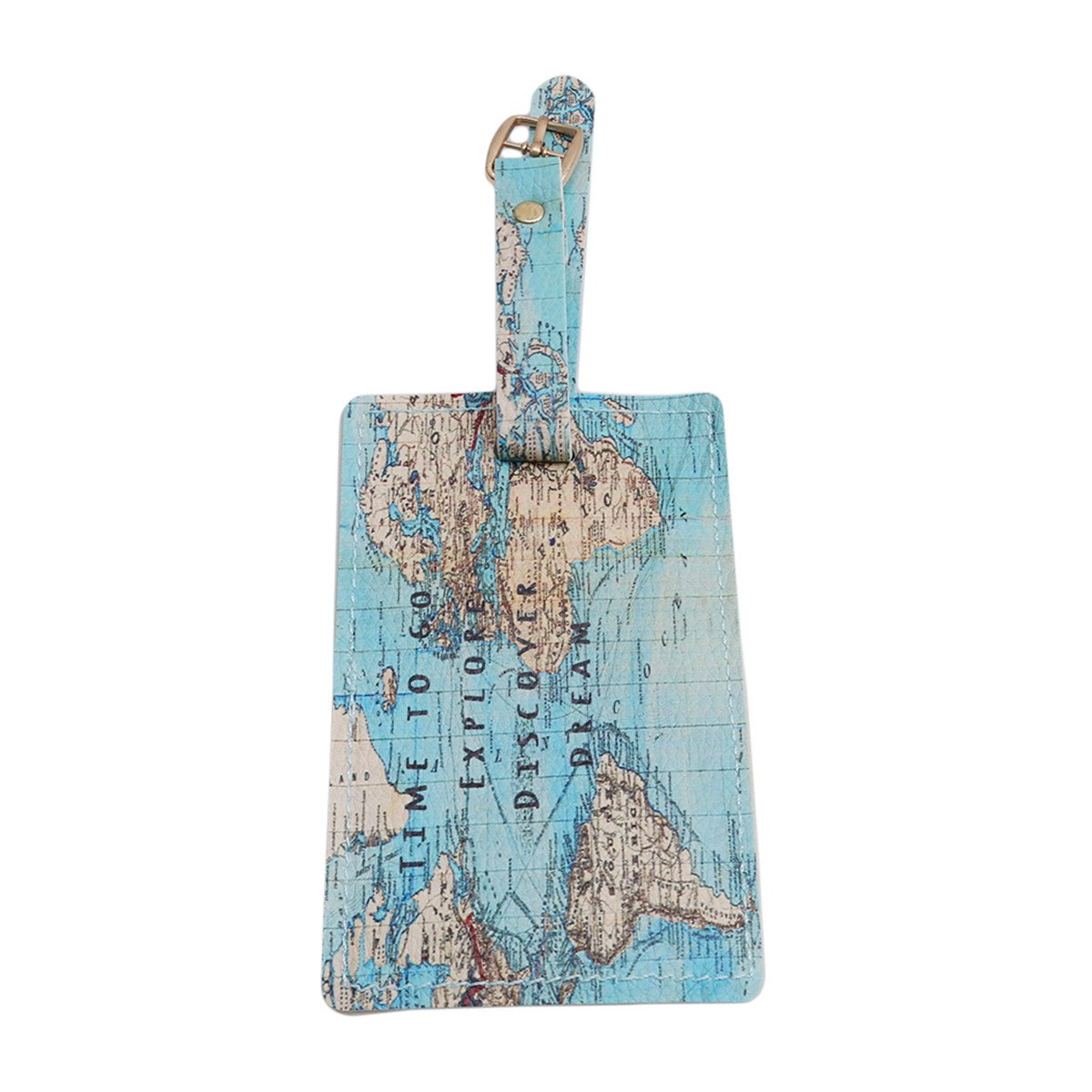 CH PU Leather Luggage Tags Suitcase Labels Bag Travel Accessories (Map)