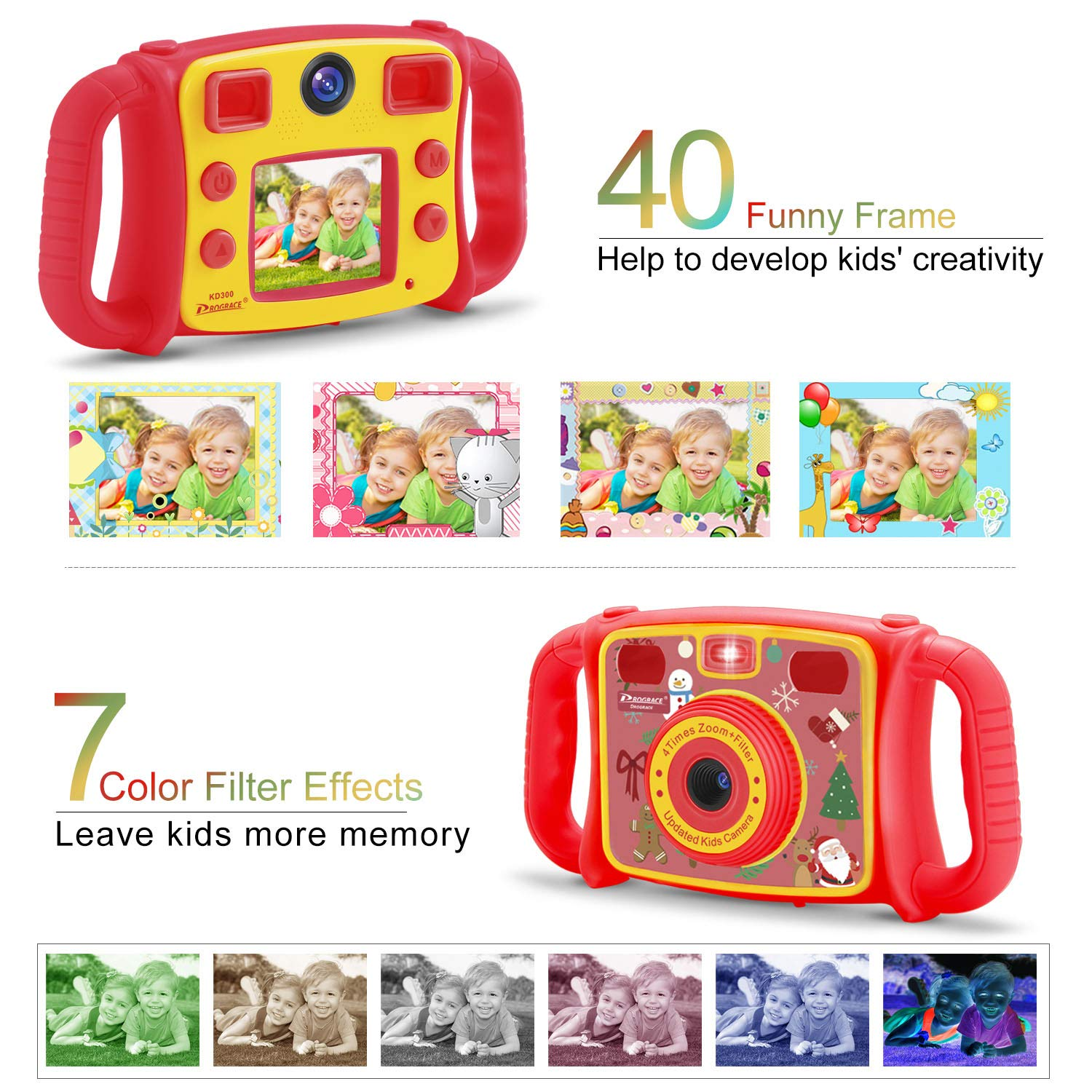 Prograce Kids Camera Dual Camera Selfie Digital Video Camera Camcorder for Boys Girls with 4X Digital Zoom, Flash Light and Funny Game(Red) by Prograce (Image #4)